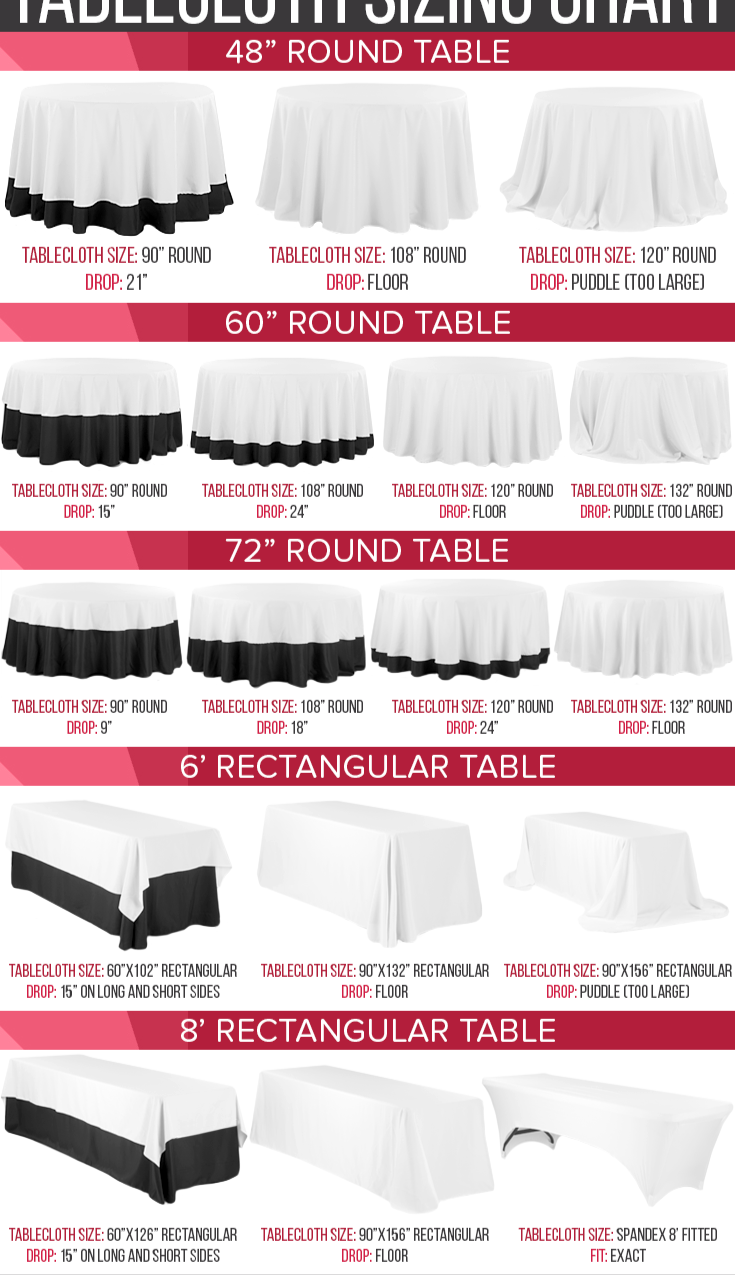 Linen Sizing Chart Daley Party Rentals